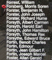 Memorial– Pilot Officer Morris Soren Forsberg is also commemorated on the Bomber Command Memorial Wall in Nanton, AB … photo courtesy of Marg Liessens