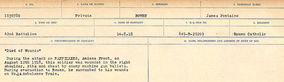 Circumstances of Death Registers– Source: Library and Archives Canada.  CIRCUMSTANCES OF DEATH REGISTERS FIRST WORLD WAR Surnames: Border to Boys. Mircoform Sequence 12; Volume Number 131829_B016721; Reference RG150, 1992-93/314, 156 Page 527 of 934