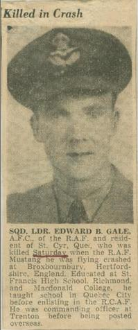 Newspaper Clipping– Squadron Leader Edward Bagley Gale obit Montreal Star May 27 1946 courtesy McGill University archives