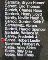 Memorial– Flight Lieutenant Robert Leslie Garvie is also commemorated on the Bomber Command Memorial Wall in Nanton, AB … photo courtesy of Marg Liessens