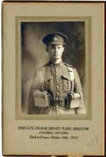 Photo of Frank Sydney Earl Bristow– Private Frank Sidney Earl Bristow of Elmira, Ontario. Died in France October 24th, 1918. The photographer, Robert W. Willoughby, had a studio in Elmira, Ontario, from 1906 to 1918.