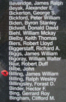 Memorial– Flight Sergeant James William Billing is also commemorated on the Bomber Command Memorial Wall in Nanton, AB … photo courtesy of Marg Liessens