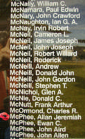 Memorial– Flight Sergeant Allan Jeremiah McPhee is also commemorated on the Bomber Command Memorial Wall in Nanton, AB … photo courtesy of Marg Liessens