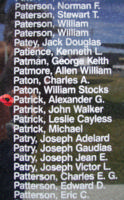 Memorial– Observer Alexander Granton Patrick is commemorated on the Bomber Command Memorial Wall in Nanton, AB … photo courtesy of Marg Liessens