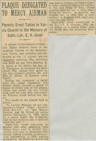 Newspaper Clipping– Squadron Leader Edgar Andrew Good plaque Montreal Gazette Sept 11 1944 Courtesy McGill University Archives
