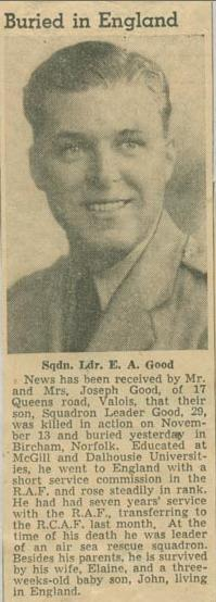 Newspaper Clipping– Squadron Leader Edgar Andrew Good obit Montreal Star Nov 19 1943 Courtesy McGill University Archives