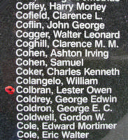 Memorial– Flight Sergeant Lester Owen Colbran is also commemorated on the Bomber Command Memorial Wall in Nanton, AB … photo courtesy of Marg Liessens