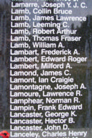Memorial– Flight Sergeant Charles Henry Lanceley is also commemorated on the Bomber Command Memorial Wall in Nanton, AB … photo courtesy of Marg Liessens