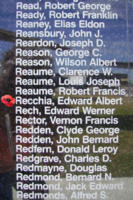 Memorial– Sergeant Edward Albert Recchia is commemorated on the Bomber Command Memorial Wall in Nanton, AB … photo courtesy of Marg Liessens