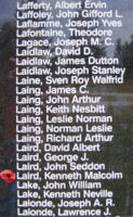Memorial– Flying Officer Kenneth Malcolm Laird is also commemorated on the Bomber Command Memorial Wall in Nanton, AB … photo courtesy of Marg Liessens