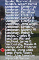 Memorial– Flight Sergeant Irving Louis Sanitsky is also commemorated on the Bomber Command Memorial Wall in Nanton, AB … photo courtesy of Marg Liessens