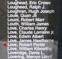 Memorial– Pilot Officer Robert Portor Love as commemorated on the Bomber Command Memorial Wall in Nanton, AB … photo courtesy of Marg Liessens