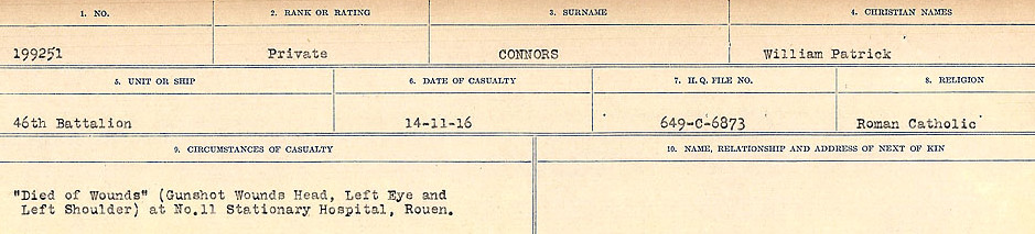 Circumstances of Death Registers– Source: Library and Archives Canada.  CIRCUMSTANCES OF DEATH REGISTERS, FIRST WORLD WAR Surnames:  CONNON TO CORBETT.  Microform Sequence 22; Volume Number 31829_B016731. Reference RG150, 1992-93/314, 166.  Page 45 of 818.