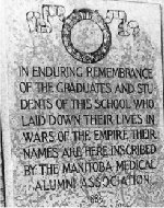 Memorial– Private Pack is honoured on this memorial plaque at the Faculty of Medicine, University of Manitoba,