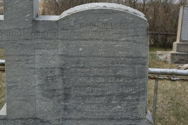 Family Memorial– George Donald Collins Family headstone in Broadview, SK, bearing the name: G D Collins DIED July 23, 1919 AGED 34 years