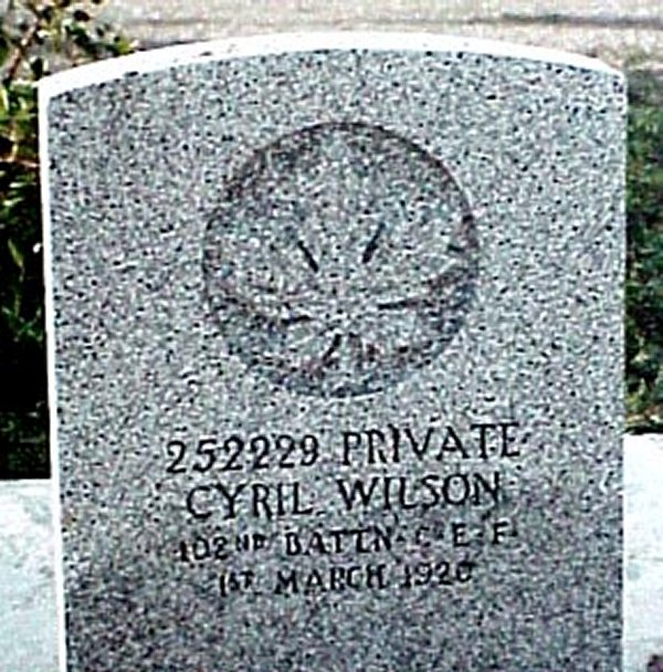 Headstone of Cyril Wilson