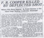 Newspaper Clipping– News article recounting the untimely death of Pte Frank Robert Cooper.