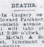 Newspaper Clipping– Obituary for Lt. Albert Edward Faulkner who succumbed to injuries received overseas.