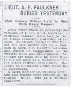 Newspaper Clipping– Account of the funeral and burial of Lt. Albert Edward Faulkner from the Calgary Herald dated 3 June 1918.