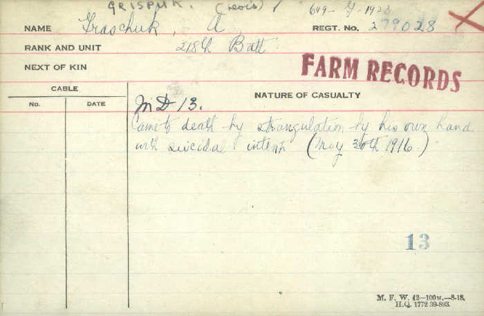 Circumstances of Death Registers– CDN Pte Alexander Grispuk, 218th Bn, came to death by strangulation by own hand. May 30 1916 http://www.collectionscanada.gc.ca/microform-digitization/006003-119.01-e.php?q2=36&q3=2876&sqn=958&tt=1305&PHPSESSID=dakb0rd4bnor7frpudrqjbuu70