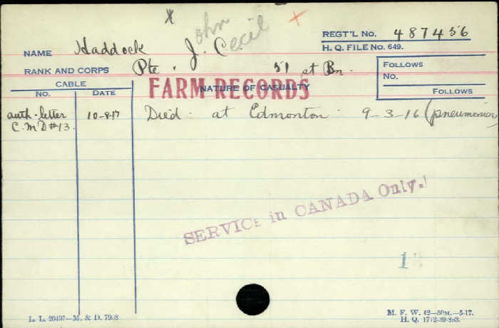 Circumstances of Death– Private John Cecil Haddock -  Canadian Infantry, Canadian Expeditionary Force 51st Bn. Son of the late James and Julia Isabella Haddock. Haddock Died in Edmonton of pneumonia.  http://www.collectionscanada.gc.ca/microform-digitization/006003-119.01-e.php?q2=36&q3=2877&sqn=263&tt=1331&PHPSESSID=1okaa8g49s9fo7t32k351n1mn6