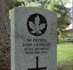 Grave Marker– Pte. John Grindley's grave marker in Banff Cemetery, Alberta.  Photographed September 2010.