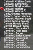 Memorial– Pilot Officer Robert George Caldwell is also commemorated on the Bomber Command Memorial Wall in Nanton, AB … photo courtesy of Marg Liessens