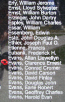 Memorial– Observer Clarence Ernest Evans is also commemorated on the Bomber Command Memorial Wall in Nanton, AB … photo courtesy of Marg Liessens