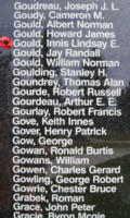 Memorial– Flying Officer Innis Lindsay Elwin Gould is also commemorated on the Bomber Command Memorial Wall in Nanton, AB … photo courtesy of Marg Liessens