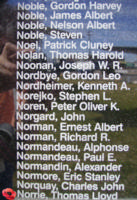 Memorial– Flight Sergeant Thomas Lloyd Joseph Norrie is also commemorated on the Bomber Command Memorial Wall in Nanton, AB … photo courtesy of Marg Liessens