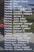 Memorial– Flight Sergeant Leslie Alfred Parker is commemorated on the Bomber Command Memorial Wall in Nanton, AB … photo courtesy of Marg Liessens