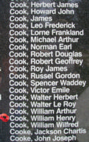 Memorial– Flight Sergeant William Henry Cook is also commemorated on the Bomber Command Memorial Wall in Nanton, AB … photo courtesy of Marg Liessens