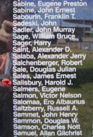 Memorial– Flight Sergeant Harold Jackson Salisbury is also commemorated on the Bomber Command Memorial Wall in Nanton, AB … photo courtesy of Marg Liessens