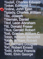 Memorial– Flying Officer John Evan Tinline is commemorated on the Bomber Command Memorial Wall in Nanton, AB … photo courtesy of Marg Liessens