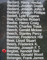 Memorial– Flying Officer Kendall Bell Begbie is also commemorated on the Bomber Command Memorial Wall in Nanton, AB … photo courtesy of Marg Liessens