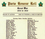 Roll of Honour– This Roll of Honour appeared in the pamphlet distributed at the Paris Ontario War Memorial's unveiling and dedication ceremony on November 11th, 1930.