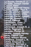 Memorial– Flying Officer William Morris Lacey is also commemorated on the Bomber Command Memorial Wall in Nanton, AB … photo courtesy of Marg Liessens