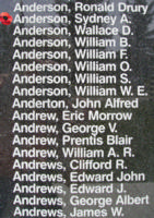 Memorial– Warrant Officer Class II Sydney Andrew Anderson is also commemorated on the Bomber Command Memorial Wall in Nanton, AB … photo courtesy of Marg Liessens