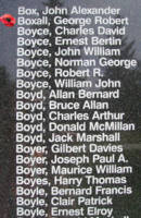 Memorial– Pilot Officer George Robert Boxall is also commemorated on the Bomber Command Memorial Wall in Nanton, AB … photo courtesy of Marg Liessens