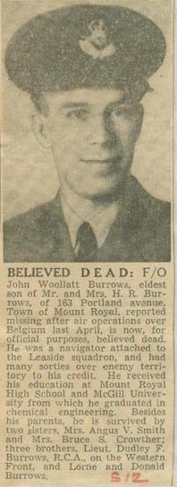 Press Clipping– F/O John Woolatt Burrows Montreal Star Jan 12, 1945 courtesy McGill University archives