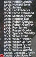 Memorial– Pilot Officer John Joseph Cooke is also commemorated on the Bomber Command Memorial Wall in Nanton, AB … photo courtesy of Marg Liessens