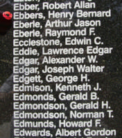 Memorial– Flight Sergeant Henry Bernard Ebbers is also commemorated on the Bomber Command Memorial Wall in Nanton, AB … photo courtesy of Marg Liessens