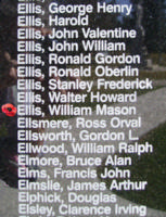 Memorial– Flight Sergeant William Mason Ellis is also commemorated on the Bomber Command Memorial Wall in Nanton, AB … photo courtesy of Marg Liessens