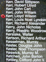 Memorial– Pilot Officer Lloyd Wilson Kerr is also commemorated on the Bomber Command Memorial Wall in Nanton, AB … photo courtesy of Marg Liessens