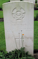 Grave marker– F/O Francis H Leaver was the Pilot of Halifax LK894  434 Squadron who crashed on August 31, 1943 at Kessenich  Belgium.