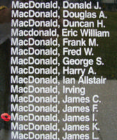 Memorial– Pilot Officer James Ignatius MacDonald is also commemorated on the Bomber Command Memorial Wall in Nanton, AB … photo courtesy of Marg Liessens