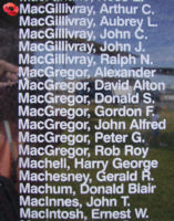 Memorial– Pilot Officer Arthur Clarance MacGillivray is also commemorated on the Bomber Command Memorial Wall in Nanton, AB … photo courtesy of Marg Liessens