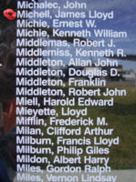 Memorial– Pilot Officer James Lloyd Michell is also commemorated on the Bomber Command Memorial Wall in Nanton, AB … photo courtesy of Marg Liessens