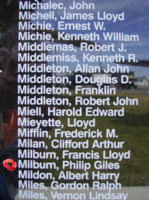 Memorial– Flying Officer Philip Giles Milburn is also commemorated on the Bomber Command Memorial Wall in Nanton, AB … photo courtesy of Marg Liessens