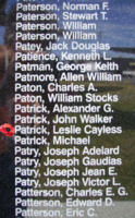 Memorial– Flight Sergeant Leslie Cayless Patrick is commemorated on the Bomber Command Memorial Wall in Nanton, AB … photo courtesy of Marg Liessens